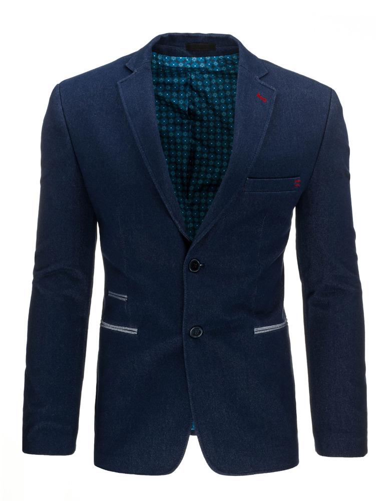Jednoradové modré pánske sako