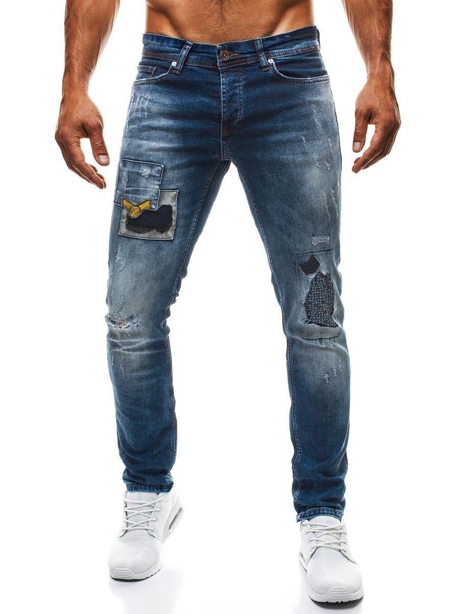 Modré pánske džínsy s nášivkami