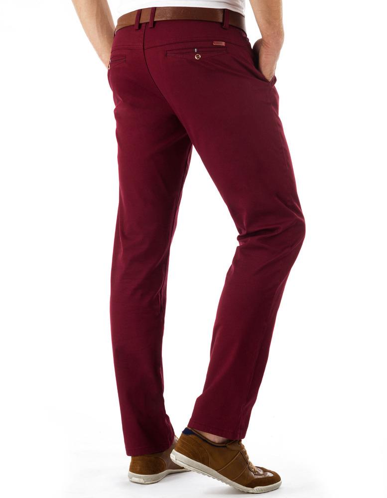 Bordové pánske chino nohavice