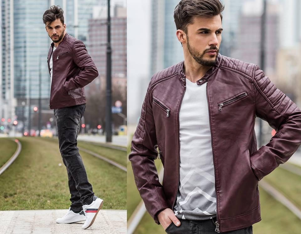 bordová kožená bunda