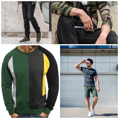 pánske outfity s dominantnou zelenou farbou