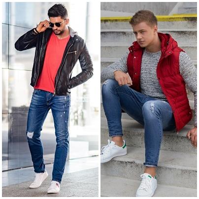 pánske outfity na červenú farbu