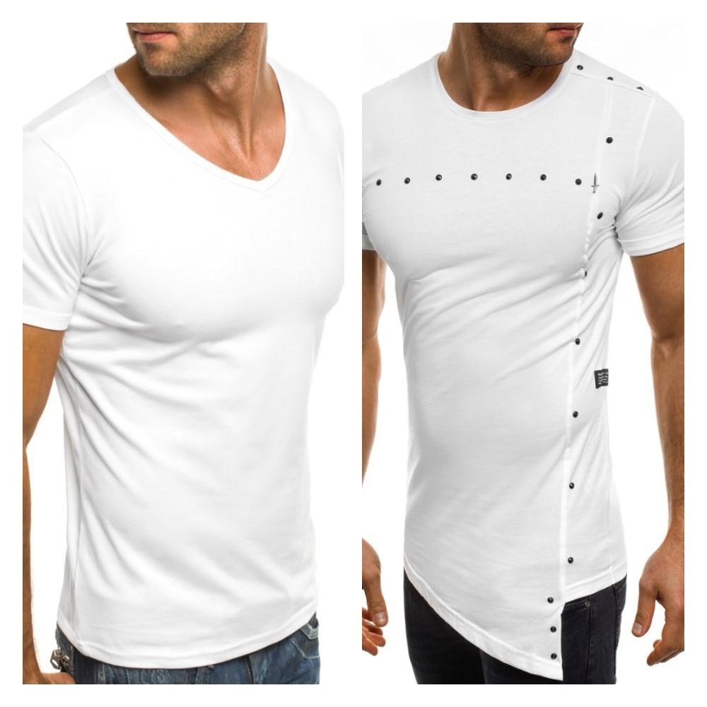 biele pánske tričko s krátkym rukávom