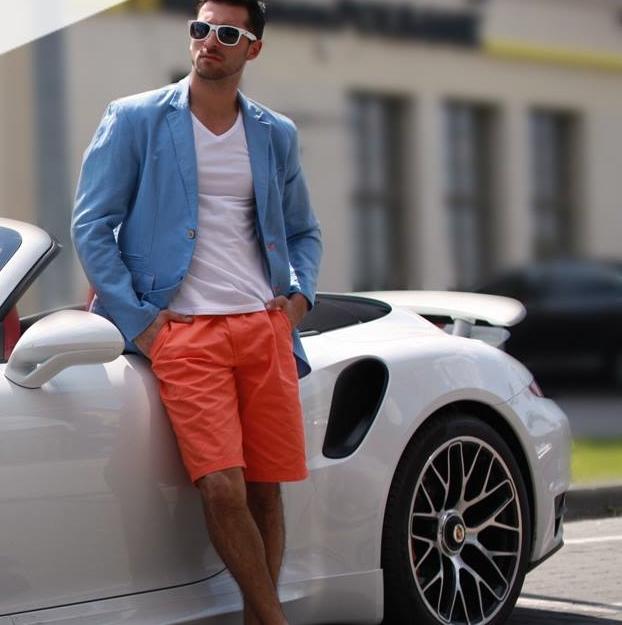 oranžové krátke nohavice