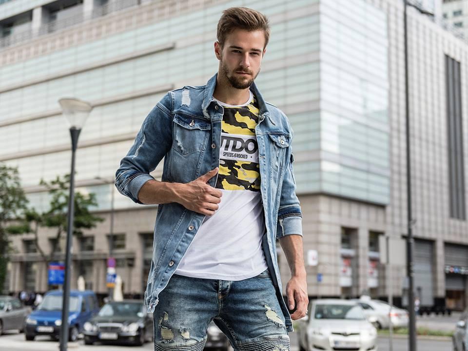 predĺžená džínsová pánska košeľa