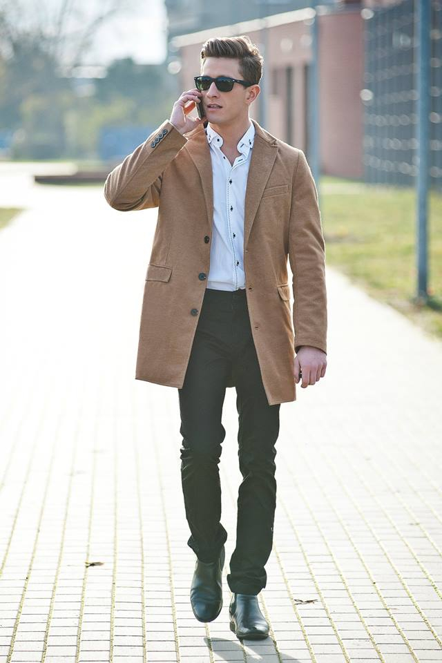béžový pánsky kabát