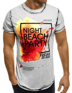 Šedé tričko Night beach party SS024