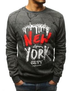 Pánska antracitová mikina NEW YORK ... 6272998bd1b