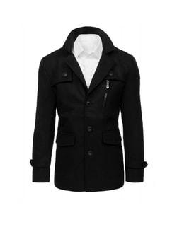 Zľava Skladom Pánsky čierny kabát bez kapucne ... b9c1e0f2241