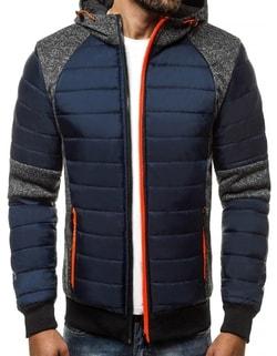 Skladom Granátová pánska zimná bunda s výraznými zipsmi OZONEE JS TY01 ... 5843da25778