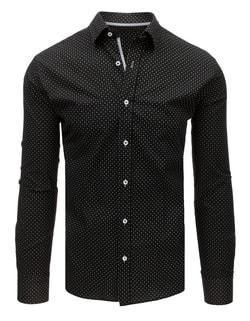 Skladom Vzorovaná čierna pánska košeľa ... 41a7d364877