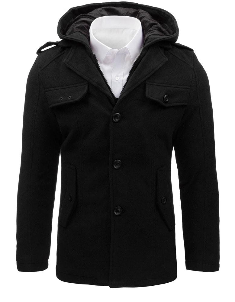 Kabát s odnímateľnou kapucňou v čiernej farbe - Budchlap.sk d81ac46f78a