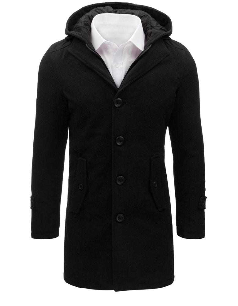 Čierny pánsky kabát s kapucňou - Budchlap.sk 2fe99ec84e2