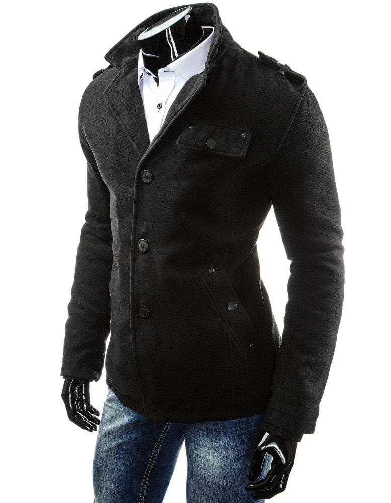 Elegantný čierny pánsky kabát na zimu - Budchlap.sk dfe46b95012
