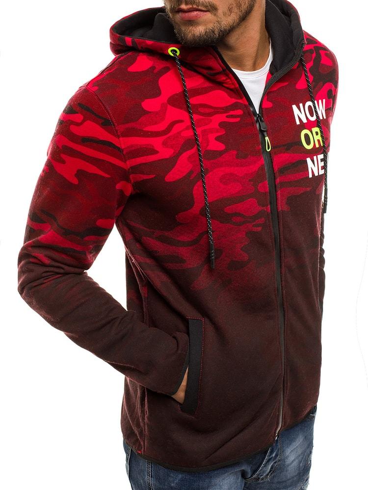 Mikina červená s maskáčovým vzorom J.STYLE DD85 - Budchlap.sk b0c23ec1881