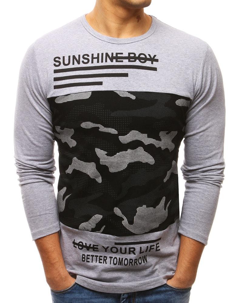 Šedé pánske tričko s dlhým rukávom - Budchlap.sk 57b3ddb01e9