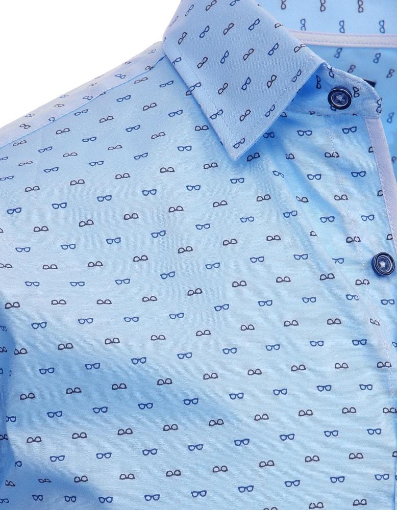 Slabo modrá pánska košeľa s nenápadným vzorom - Budchlap.sk e51d4bb165c