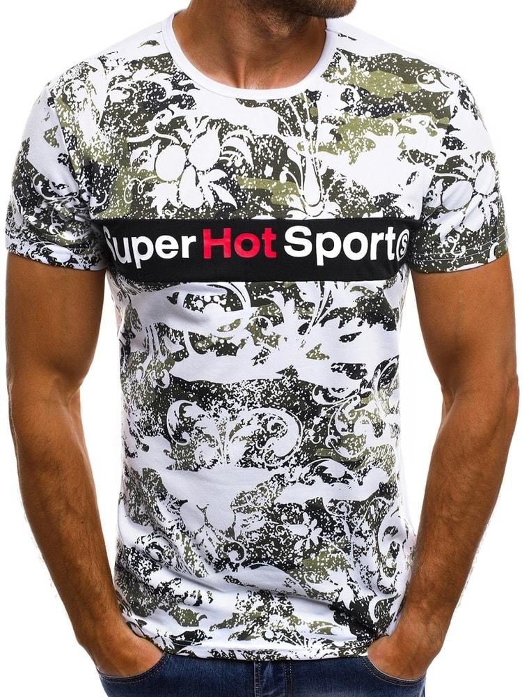 Pánske biele tričko so zaujímavou potlačou OZONEE JS SS569 - Budchlap.sk 0c9a6de674a
