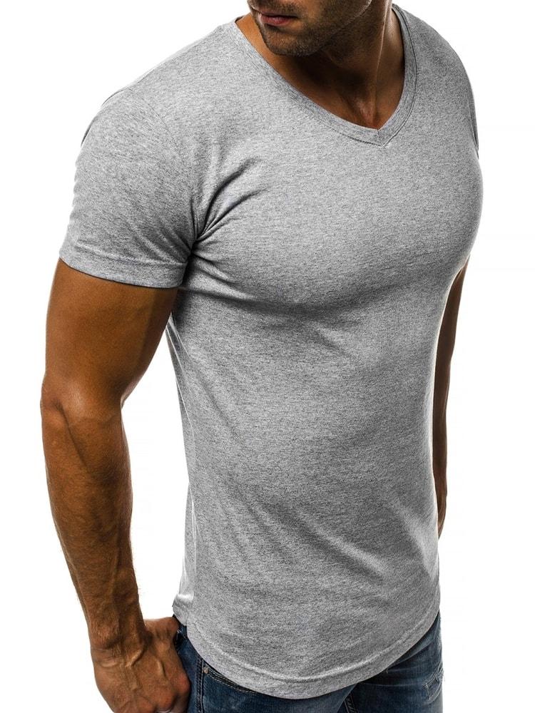 65b2bf00704d Sivé tričko s V výstrihom OZONEE O 1210 - Budchlap.sk
