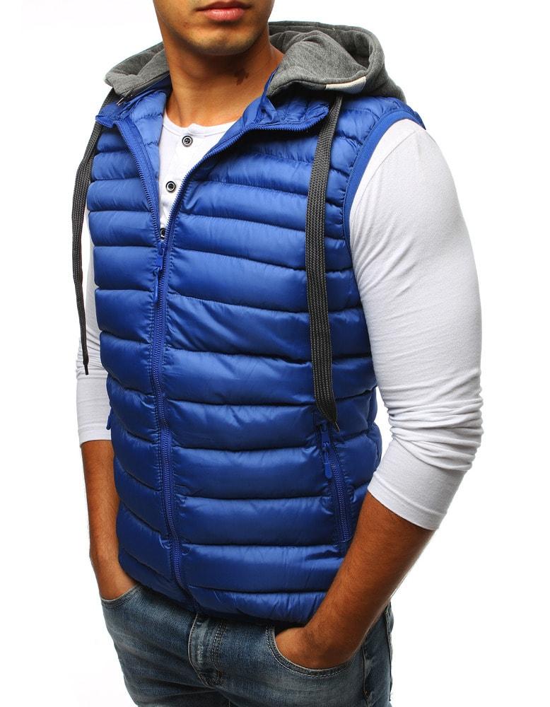 Perfektná modrá pánska vesta s kapucňou - Budchlap.sk 520715c563d