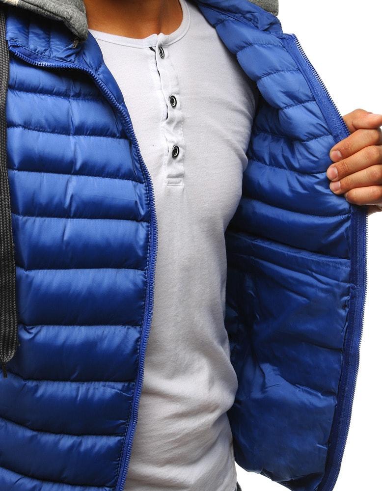 Perfektná modrá pánska vesta s kapucňou - Budchlap.sk b08c6043dc4