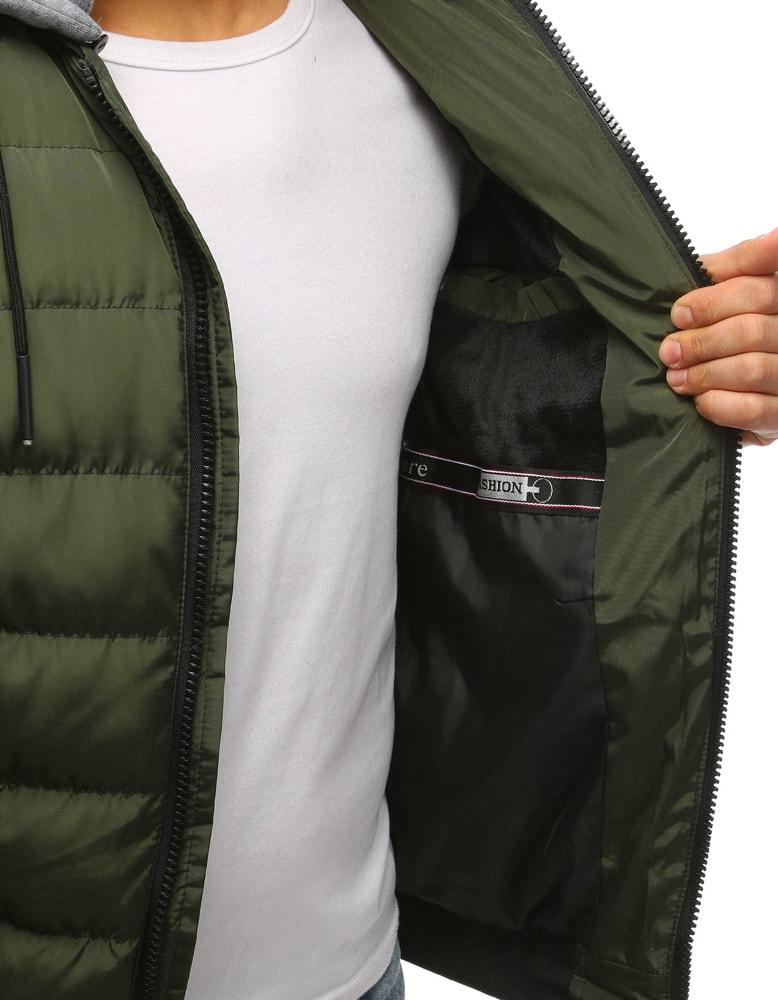 Štýlová zelená bunda s kapucňou - Budchlap.sk f6bd59f6690