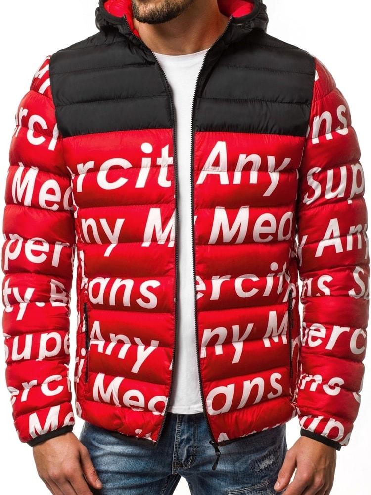 Zimná prešívaná pánska bunda červená OZONEE JS SM36 - Budchlap.sk 717f159f68b
