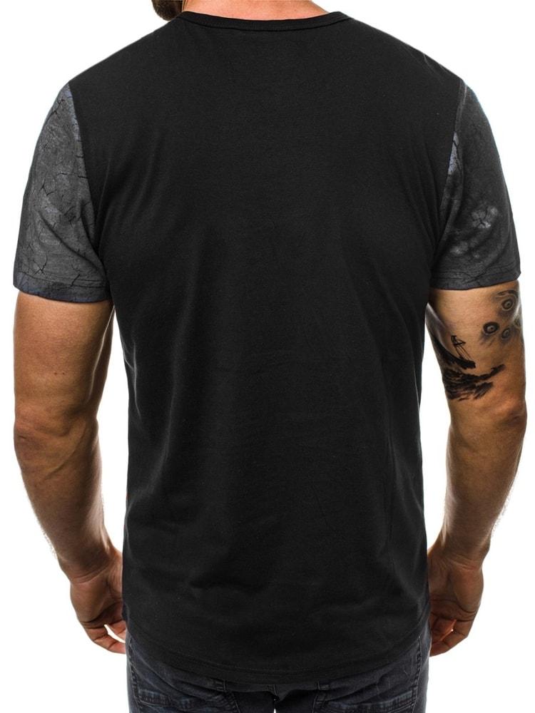 792cb6b1ffba Zaujímavé čierne pánske tričko OZONEE JS SS660 - Budchlap.sk