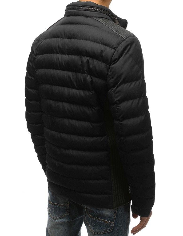 Módna čierna zimná bunda s ukrytou kapucňou - Budchlap.sk 2f34687f174