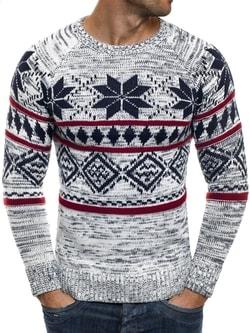 493c12c80107 Biely sveter s nórskym vzorom MADMEXT 1552