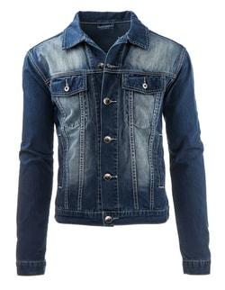 Jeansová bunda v granátovej farbe - S