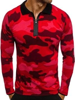 Červené maskáčové tričko s golierom ATHLETIC 1156 - XXL