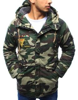 Zimná maskáčová bunda s army nášivkami - XXL