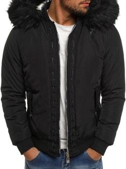 Zimná čierna bunda s kožušinovou kapucňou X-FEEL 88659 - S