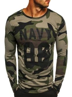 Zelené army tričko s dlhým rukávom a potlačou ATHLETIC 1087