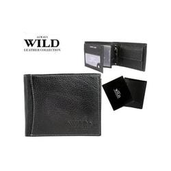 Kožená čierna peňaženka s trendy prešitím