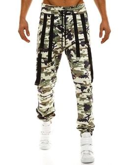Trendy svetlo-maskáčové joggery s trakmi ATHLETIC 0920 - L