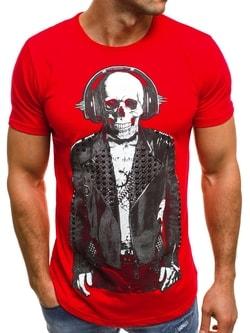 Červené tričko s potlačeným kostlivcom OZONEE B/181152 - XXL