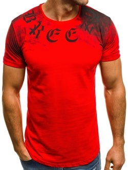 Červené tričko s potlačou OZONEE B/181170 - XXL