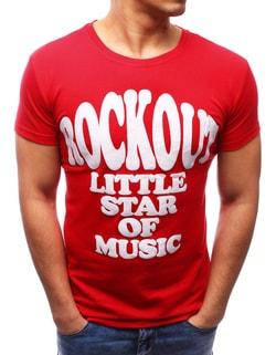 Červené tričko s atraktívnou potlačou - XXL