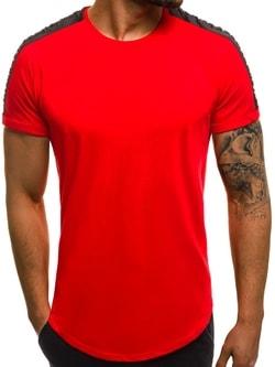 Módne červené tričko OZONEE B/181396 - XXL