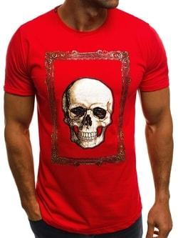 Červené tričko s lebkou B/181724 - XXL