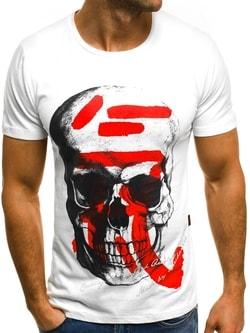 a1f3ad727f51 Biele tričko s potlačou lebky MECH 2045