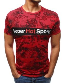 Pánske červené tričko s krásnou potlačou - XXL