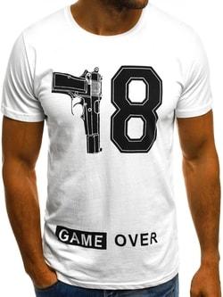 "Pánske biele tričko ""GAME OVER"" O/1174 - XXL"