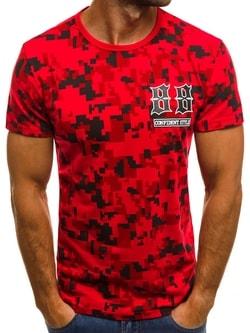 Červené tričko so zaujímavou potlačou JS/SS517 - XXL