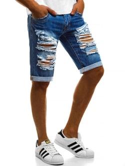 Pánske jeans kraťasy efektne potrhané V/2243 - 35