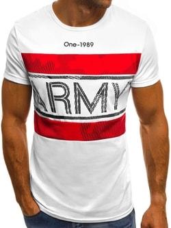 b5cb470674c0 Biele tričko s nápisom ARMY OZONEE JS SS570 - XXL