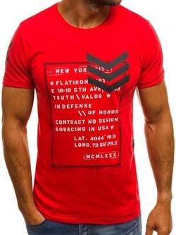 Výrazné červené tričko OZONEE MECH/2079T - XL