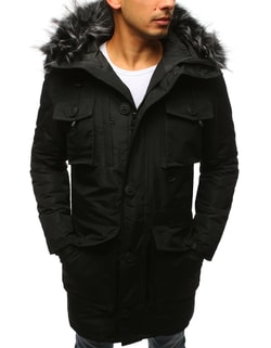 Štýlová pánska zimná bunda parka čierna - L